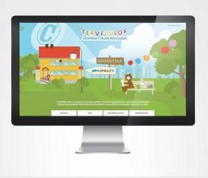 Kopiraittilan koulu -sivuston etusivu näytöllä. Kopiraittilan koulussa opit tekijänoikeustietoja ja -taitoja.