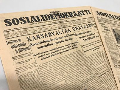 Suomen Sosialidemokraatti -lehden etusivu 11.12.1929