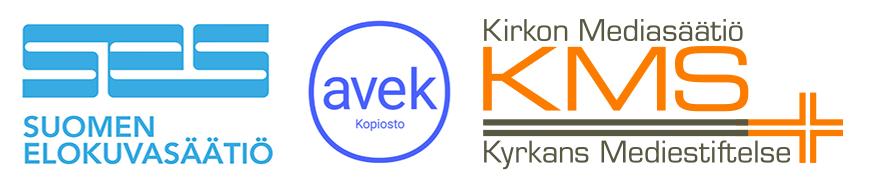 Elokuvasäätiön, AVEKin ja Kirkon Mediasäätiön logot