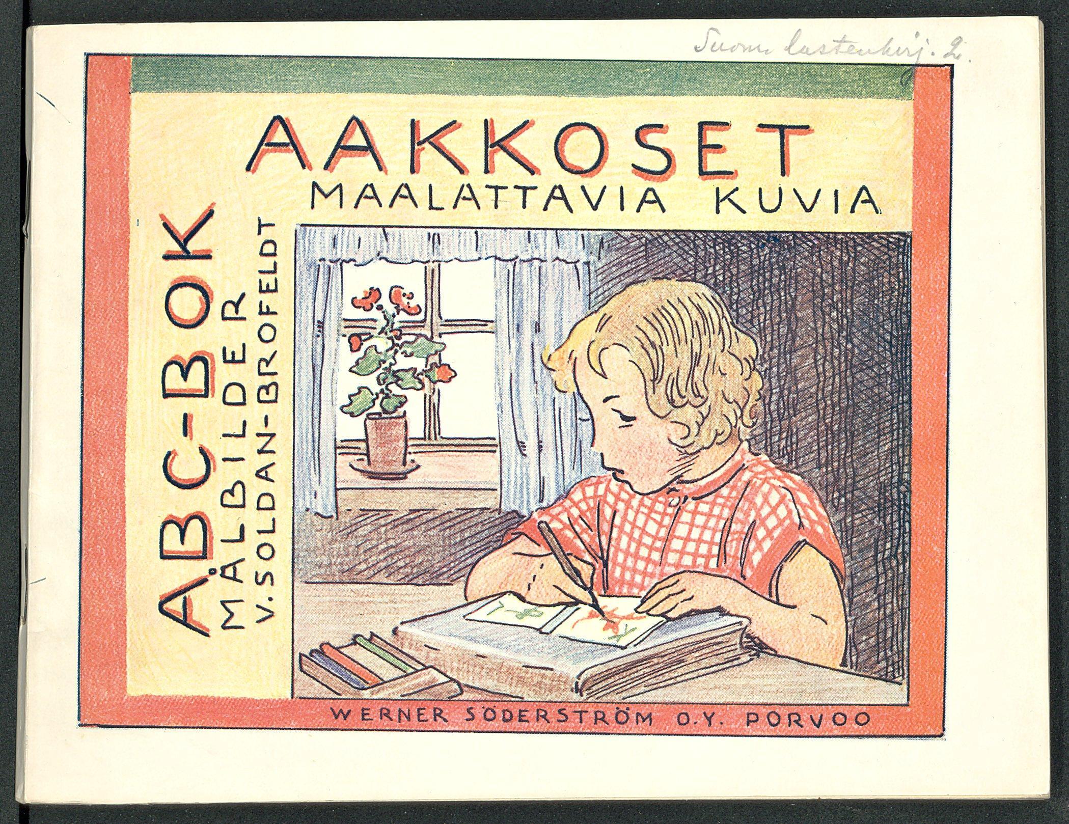 Kansikuva aakkoskirjasta Aakkoset: maalattavia kuvia, 1933