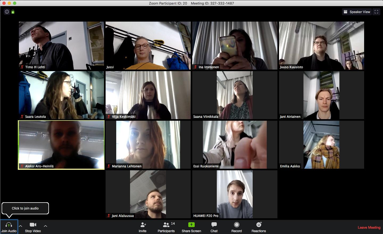 Kuvassa näkyy etäyhteydessä olevat projektin osallistujat tietokoneen ruudulla.