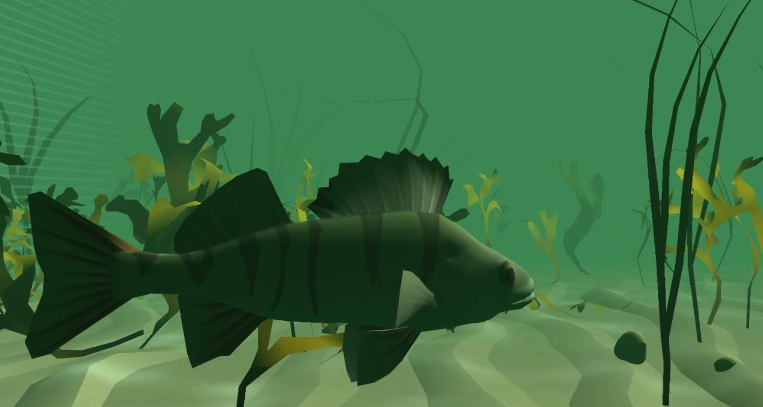 Kalojen maailma -pelin ahven-avatar ui sinivihreässä vedessä, piirroskuva.