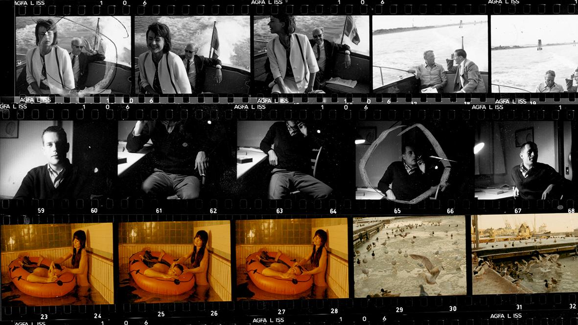 Kuva kehitetystä filmistä, jossa on Jörn Donnerin valokuvia. Ylärivin valokuvissa näkyy nainen ja kaksi miestä keskustelemassa veneessä, taustalla vettä. Kuvat ovat mustavalkoisia. Keskirivin kuvat ovat myös mustavalkoisia, osassa näkyy Jörn Donner vain rintakehästä ylöspäin, osassa taas pelkkä alaruumis. Alarivin kolmessa ensimmäisessä kuvassa nainen ja mies altaassa, mies on kellukkeen päällä, nainen seisoo. Kahdessa viimeisessä kuvassa lintuja ulkona. Alarivin kuvat värillisiä.