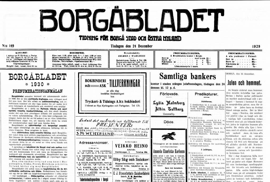 Borgåbladet-sanomalehden etusivu jouluaattona vuonna 1929 näkymä, jossa palstoja ja palstoissa tekstiä.