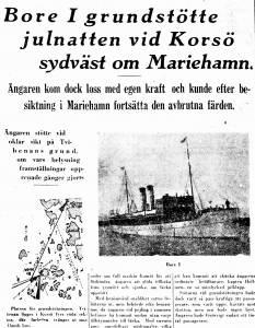 Uutinen päivältä 27.12.1929 lehdessä Åbo Underrättelser laivasta Bore ensimmäinen, joka joutui merellä vaikeuksiin jouluyönä 1929. Kuva laivasta ja kartasta, jossa kuvattuna vaikeuksiin joutumispaikka.